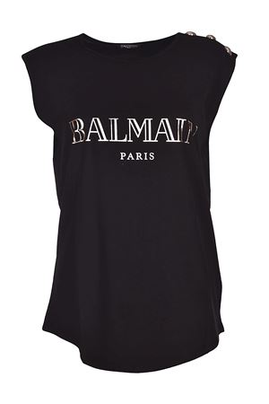 Black tank top with silver buttons BALMAIN | 8 | 128535326IC0100