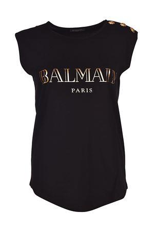 Black tank top with golden buttons BALMAIN | 8 | 128535326IC0105