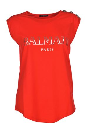 Red tank top with silver buttons BALMAIN | 8 | 128535326IC1604