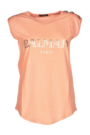 Pink tank top with silver buttons BALMAIN | 8 | 128535326IC2002