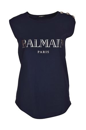 Blue tank top with silver buttons BALMAIN | 8 | 128535326IC3306