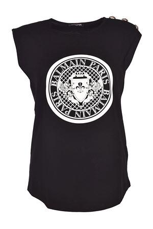 Black tank top with crest print BALMAIN | 8 | 128537709IC0100