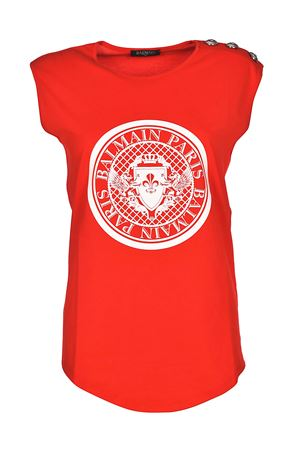 Red tank top with crest print BALMAIN | 8 | 128537709IC1604
