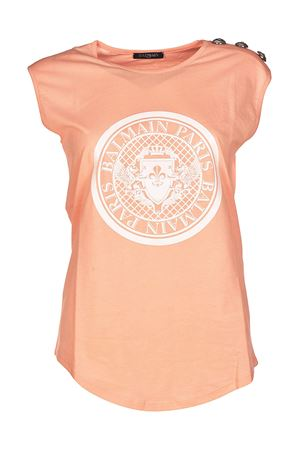 Pink tank top with crest print BALMAIN | 8 | 128537709IC2002