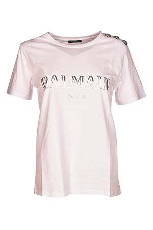 White T-shirt with silver buttons BALMAIN | 8 | 128539326IC0001