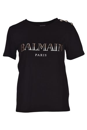 Black T-shirt with silver buttons BALMAIN | 8 | 128539326IC0100