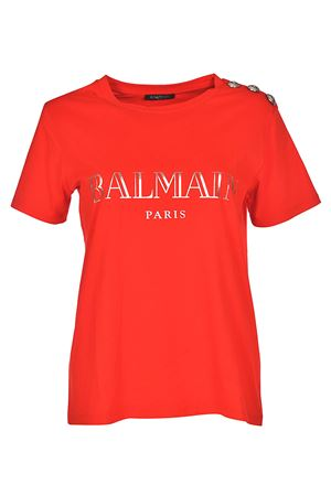 Red T-shirt with silver buttons BALMAIN | 8 | 128539326IC1604