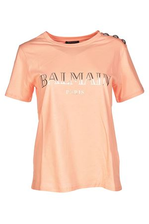 Pink T-shirt with silver buttons BALMAIN | 8 | 128539326IC2002