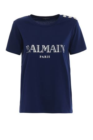 Blue T-shirt with silver buttons BALMAIN | 8 | 128539326IC3306