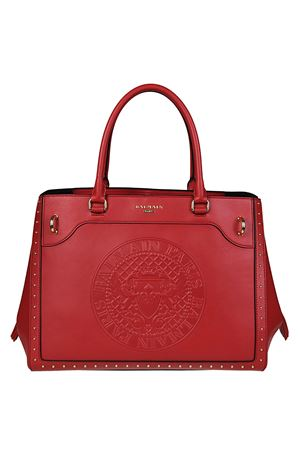 Leather maxi logo red tote BALMAIN | 5032265 | FS123PGAM132