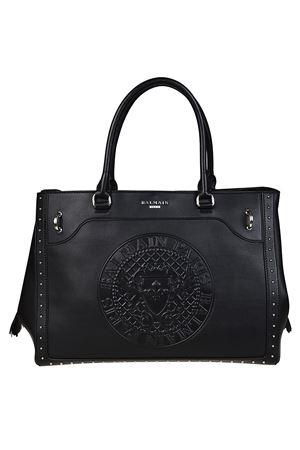 Leather maxi logo black tote BALMAIN | 5032265 | FS123PGAM176