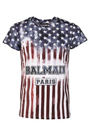 Cotton USA flag print T-shirt BALMAIN | 8 | H8601I086192