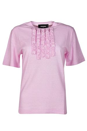 T-shirt rosa con ruches DSQUARED2 | 8 | S72GD0069S22507242