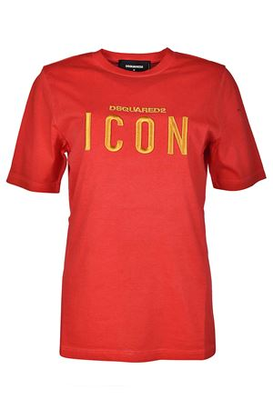 T-shirt rossa in cotone ricamo Icon S75GC0872S22427313 DSQUARED2 | 8 | S75GC0872S22427313
