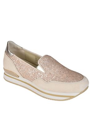 H222 glitter and suede slip-ons