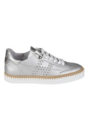 R260 silver-tone leather sneakers HOGAN | 120000001 | HXW2600AD30IEUB200