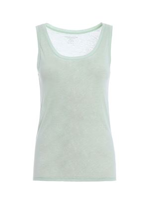 Mint green linen jersey tank top MAJESTIC | 46 | 0501416