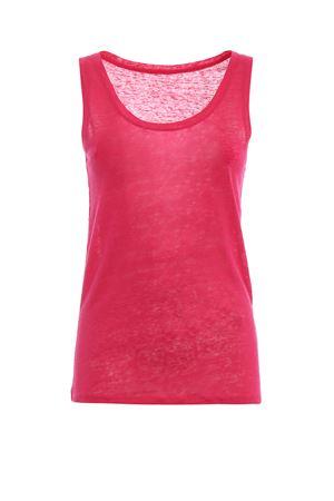 Azalea pink linen jersey tank top MAJESTIC | 46 | 0501457