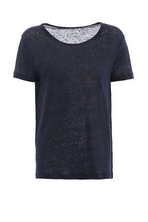 T-shirt blu scollata in lino MAJESTIC | 8 | 0515003