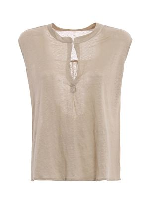 Top scollato a V in lino sabbia MAJESTIC | 8 | 0517021