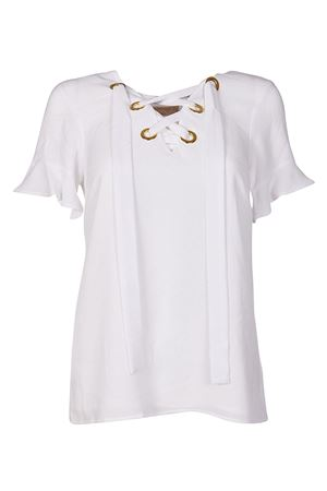 White crepe blouse with laces MICHAEL DI MICHAEL KORS | 10000004 | MH74LGM4YP100