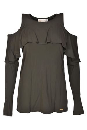 Flounced cut-out jersey blouse MICHAEL KORS | 7 | MH75LNM7AW345