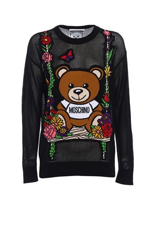 See-through intarsia black sweater MOSCHINO | -1384759495 | 09010400V2555