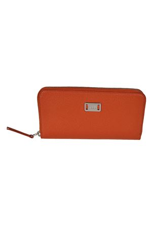 Orange leather continental wallet TOD