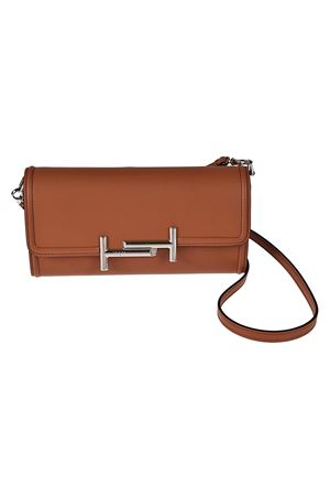 Brown leather wallet clutch TOD