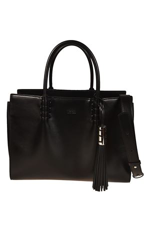 Accordion sides leather tote TOD