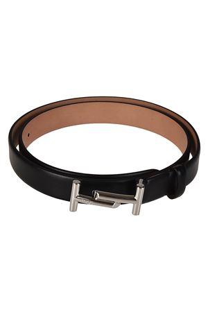 Cintura in pelle nera con doppia T TOD