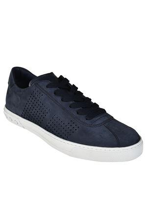 Blue nubuck low top sneakers<br>