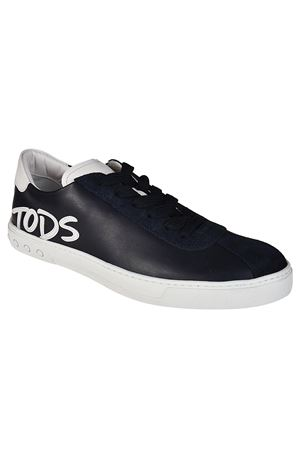 Logo Patch blue leather sneakers TOD