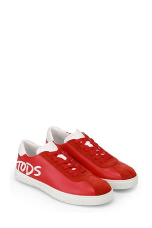 Logo Patch red leather sneakers TOD