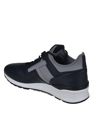 Leather and neoprene blue sneakers TOD