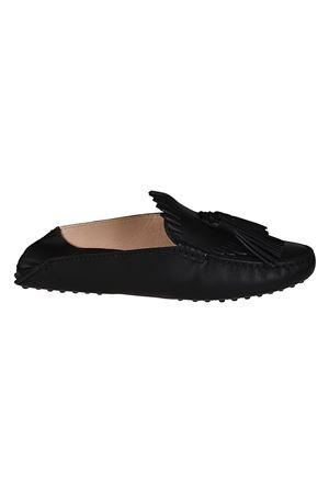 Black leather tasselled slippers TOD