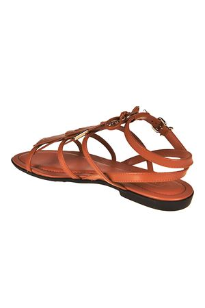 Fringed leather sandals with logo TOD