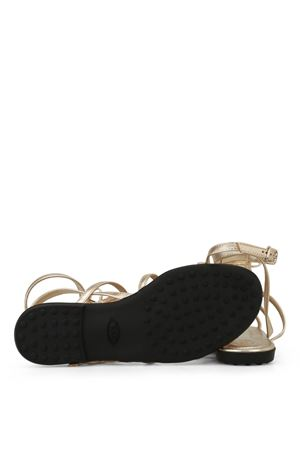 Gold leather fringed cage sandals TOD