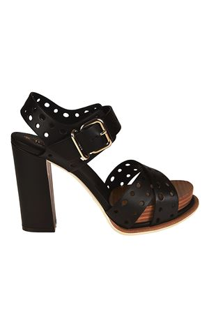 Black drilled leather heel sandals TOD