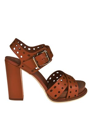 Drilled leather heeled sandals TOD