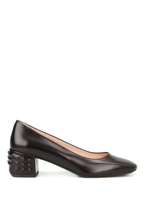 Bevelled heel black leather pumps TOD