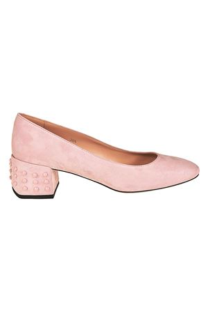 Structured heel pink suede pumps TOD
