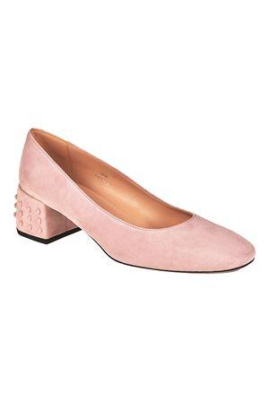 Structured heel pink suede pumps TOD