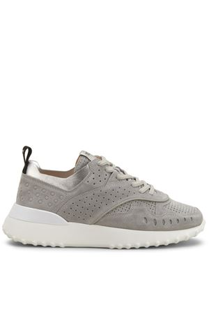 Grey drilled leather sneakers TOD