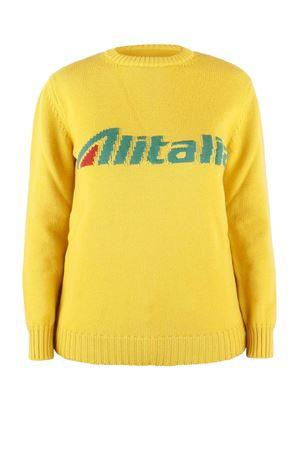 Pullover giallo con intarsio logo Alitalia J098116131029 ALBERTA FERRETTI | 7 | J098116131029
