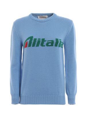 Pullover azzurro con intarsio logo Alitalia J098116131294 ALBERTA FERRETTI | 7 | J098116131294
