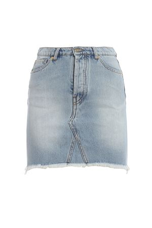 Unfinished hem cotton denim skirt  192SK8120318SKY
