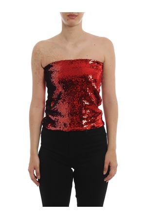 Red sequined mini skirt