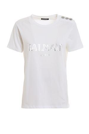 T-shirt in cotone bianco con stampa logo RF01322I170GAC BALMAIN | 8 | RF01322I170GAC