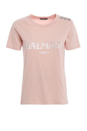 T-shirt in cotone rosa con stampa logo RF01322I170OAY BALMAIN | 8 | RF01322I170OAY